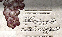 We printed this wedding invitation set for a bride and groom who are getting married at a vineyard on the north fork of Long Island. The set, which was designed by Jina Paik, features grapes on the vine letterpress printed on 100% cotton paper (our house stock) and matching envelopes. The invitation is simple and elegant which highlights the grapes and is printed in purple and gold ink. The reply card was also printed in purple and gold ink and continues the theme with a grape leaf a