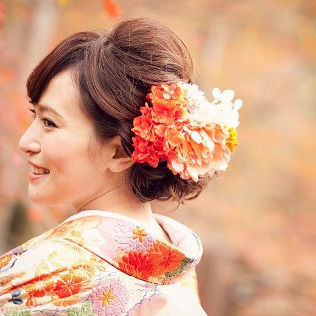 横からみるとこんな感じ✨ #花嫁ヘア #ヘアアレンジ #和装ヘア #色打掛 #前撮り #和装前撮り #京都前撮り