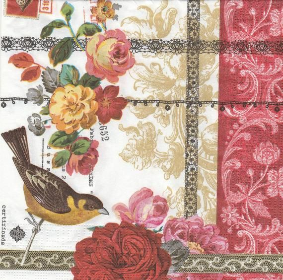 4 Paper Napkins Serviettes for Crafts /& Decoupage Nostalgic Bird and Roses NEW