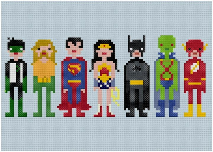 Pixel People - Justice League of America - PDF Cross Stitch PATTERN. Description from pinterest.com. I searched for this on bing.com/images