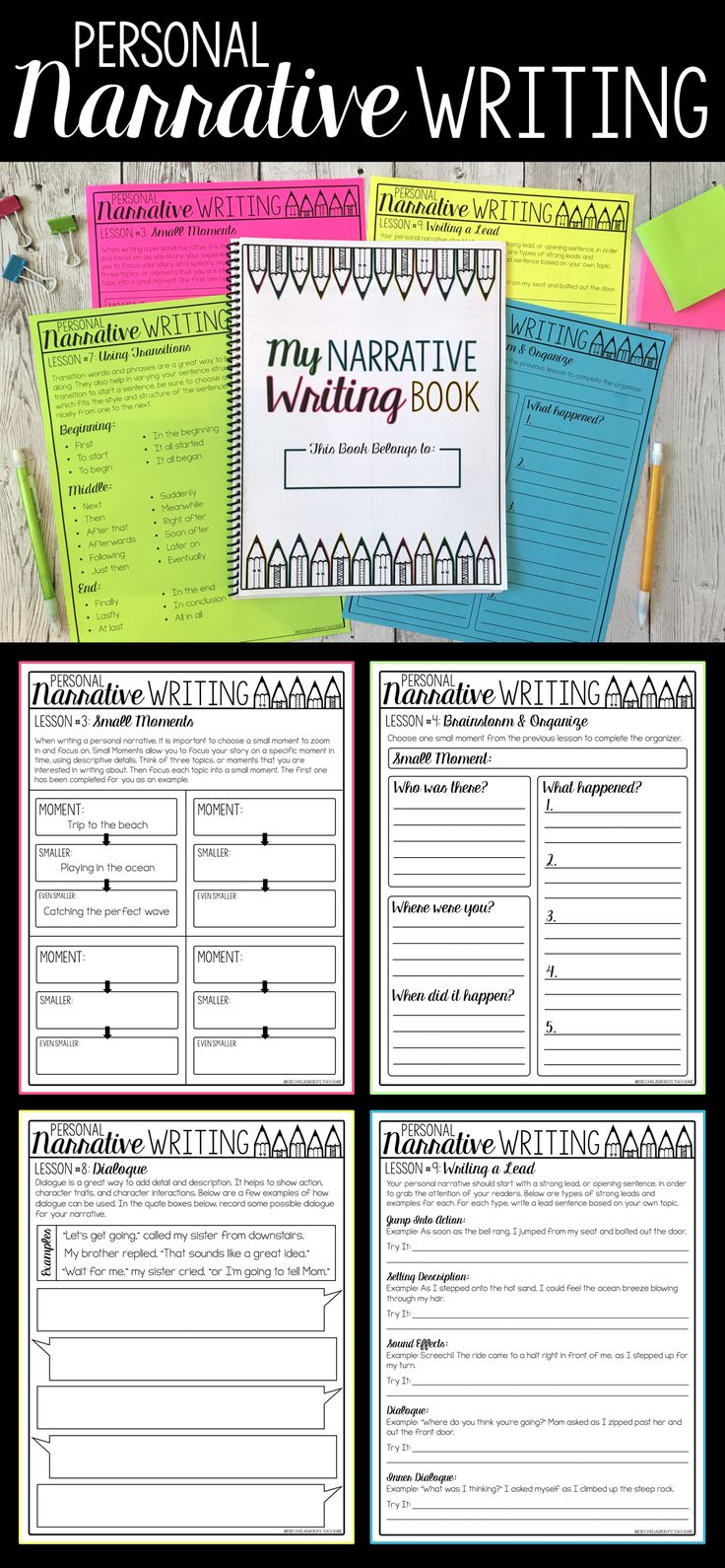 This personal narrative writing unit is perfect for teaching upper elementary students all about the genre of narrative writing. There are tons on mini lessons and activities to guide students through writing their first personal narrative. No prep and easy to follow!!