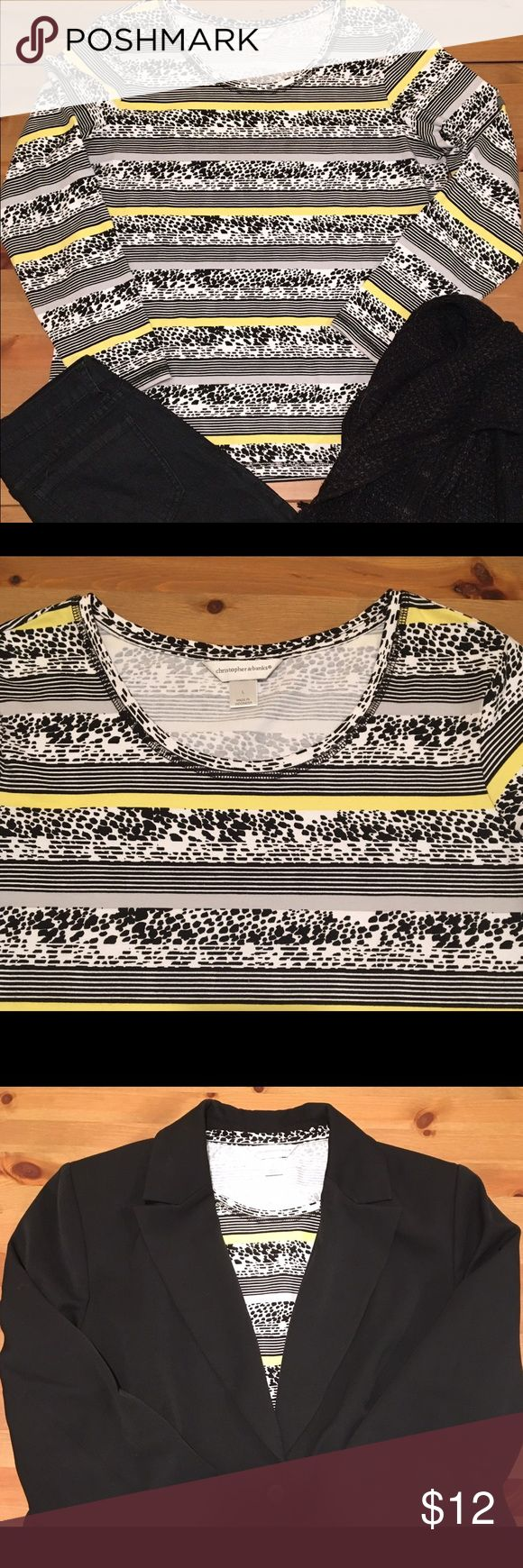 """Christopher and Banks knit top size large Striking long-sleeved knit top in black, white, and yellow. Perfect for under a black suit jacket for a pop of color. Soft cotton fabric with just enough spandex for a perfect fit! 26"""" long 24"""" sleeve 21"""" across underarms. Like new condition. Christopher & Banks Tops"""