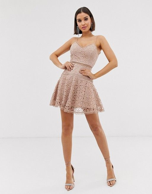 love triangle cami skater dress in floral crochet lace in latte asos
