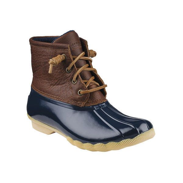 Women's Sperry Top-Sider Saltwater Duck Boot ($100) ❤ liked on Polyvore featuring shoes, boots, casual, winter boots, sperry boots, lace up winter boots, quilted boots and lace up boots