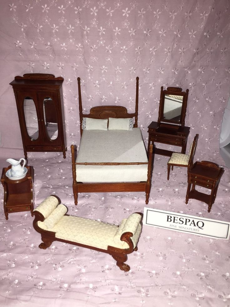 Doll House Bespaq 8 Pc Sara Todd Lincoln Hand Crafted Bedroom Set Stunning | eBay