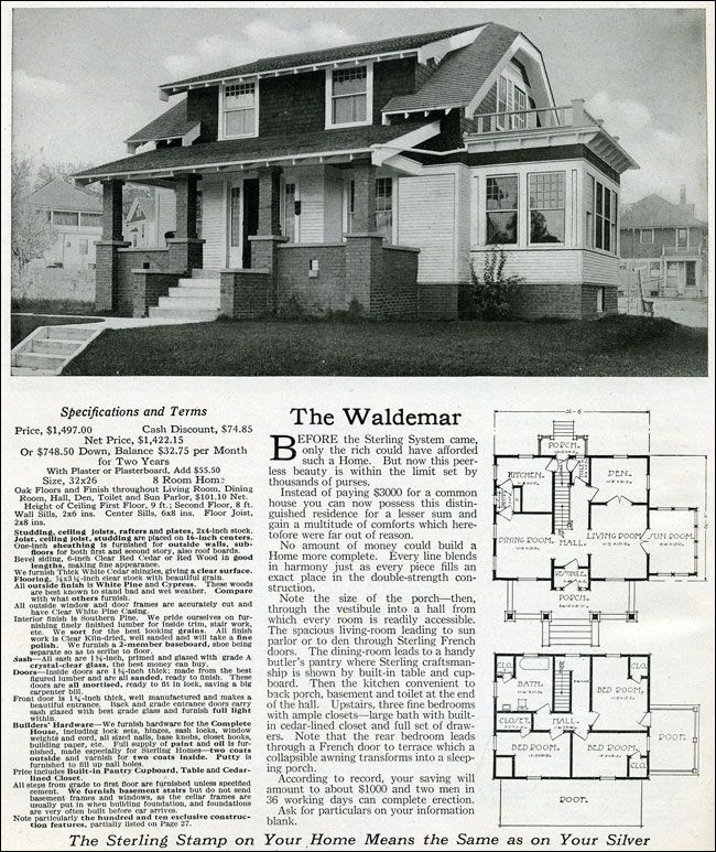 The Waldemar - 1916 Sterling System - Clipped gable - Colonial Revival - Bungalow