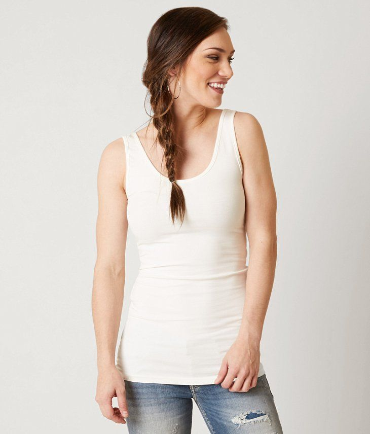 Buckle - BKE core Extra Long Tank Top - Color: Winter White