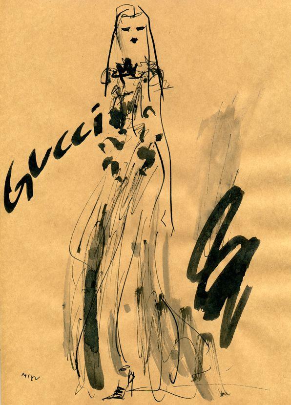 """Gucci FALL 2012 READY-TO-WEAR""  クール&ゴージャスなグッチの2012年秋冬コレクション。ダークな赤の口紅が妖艶。"
