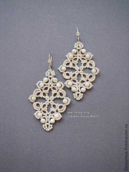 tatting earrings  Would love to do this with crystal beads!