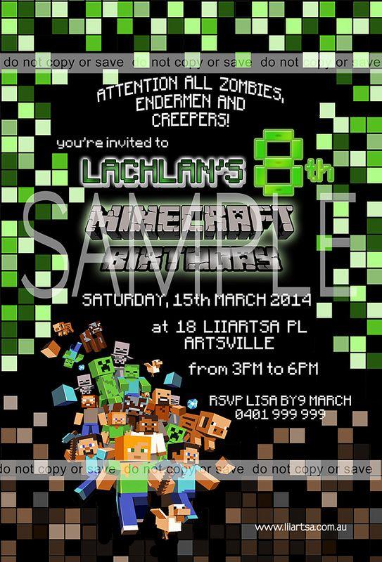 Minecraft Childrens Birthday Invitations