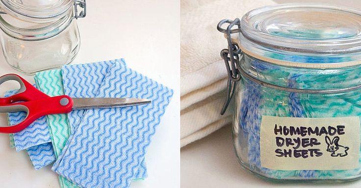 Homemade Dryer Sheets - super easy to make: vinegar & essential oil