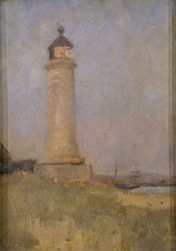 "Painting from the Fine Art collection. ""Kingston Buci Lighthouse"" by Charles Gogin, showing the lighthouse at Shoreham on a grassy bank with a glimpse of sea to the right. 1888."