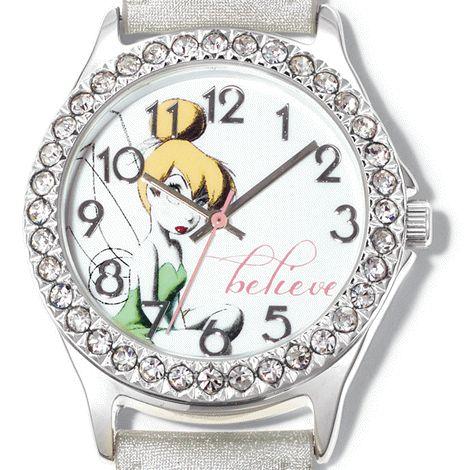 Silvertone with rhinestone-embellished case. Leather-like strap, 23 cm L. Quartz movement. © #Disney #montre #fille #Fée #Clochette #TinkerBell #Avon #bijou #watch http://bit.ly/1GB6X17