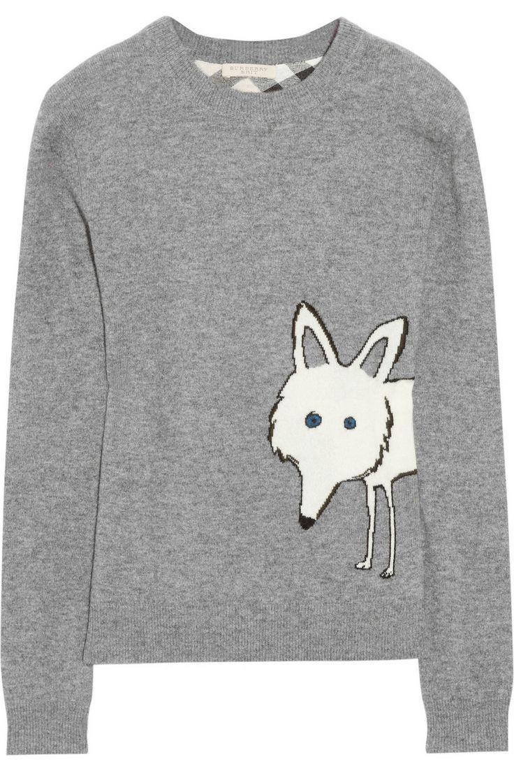Burberry Brit|Fox-intarsia wool and cashmere-blend sweater|NET-A-PORTER.COM
