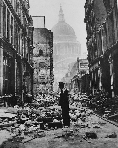 In the shadow of St. Paul's. The Blitz, London, 1940.   Unattributed