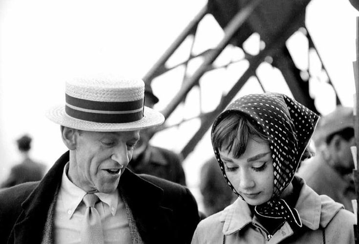 """Funny Face, Stanley Donen (1957) : """"A girl who has character, spirit, and intelligence."""" Here, with Fred Astaire at the Eiffel Tower, for the filming of Funny Face."""