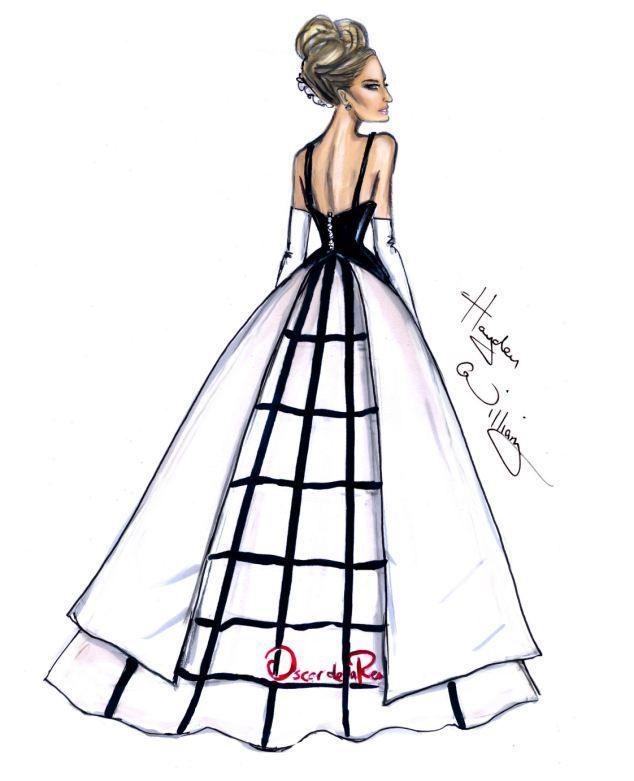Queen of style: Sarah Jessica Parker's Oscar de la Renta dress wowed at the Met Ball last week. British artist Hayden Williams' drew his own stunning version