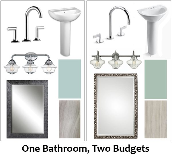 17 best images about one bathroom two budgets on for Bathroom remodel 3000