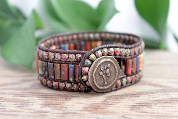 Earthy Leather Wrap Bracelet, 3 Row Cuff, Bohemian, Colorful, Boho Beaded Leather Cuff, Hippie Bracelet, Leather Jewelry