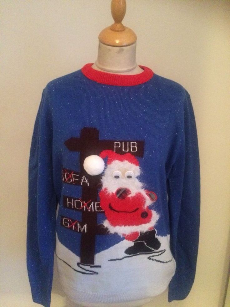 Mens Christmas pub JUMPER SIZE M     #Unbranded #Jumpers