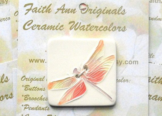 XL DRAGONFLY BUTTON handmade ceramic 2 hole by FaithAnnOriginals, $18.00