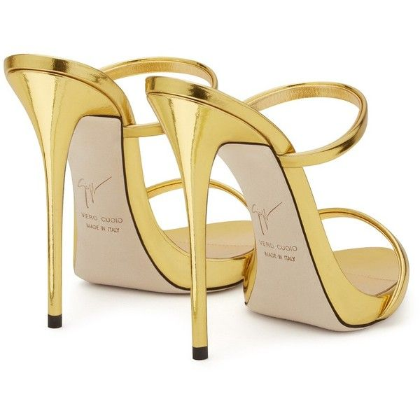 Giuseppe Zanotti Darsey ($487) ❤ liked on Polyvore featuring shoes, sandals, strappy platform sandals, gold high heel sandals, high heel mules, strappy high heel sandals and mule sandals