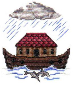 """""""Cross Stitch Noah's Ark"""" +FREE Sample!  Comes with the ark on the water, rain clouds, animals two by two, Dove & rainbows!"""