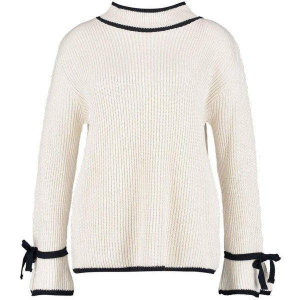 Boohoo Plus Lucy Roll Neck Tipped Tie Sleeve Jumper ($20) ❤ liked on Polyvore featuring tops, sweaters, jumper tops, tie sleeve top, acrylic sweater, roll neck top and tie sweater