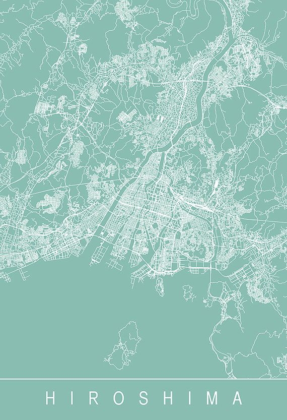 HIROSHIMA CITY MAP Art Print Line Art City by EncoreDesignStudios