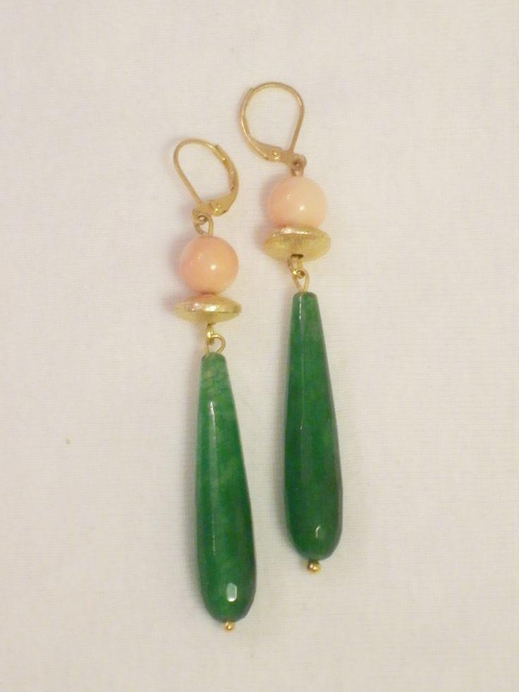 """Pendientes de jade coreano y coral rosa """"piel de ángel"""""""