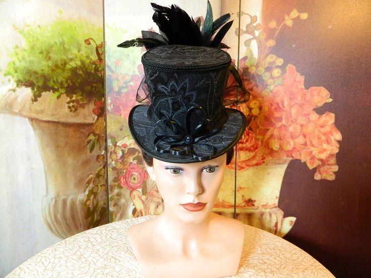 Tophat black grey Minihat Fascinator Minizylinder Steampunk Burlesque Wedding Bonnet Gothic Gown formal Dress Fascinator Hut Chapeau riding by Nashimiron on Etsy