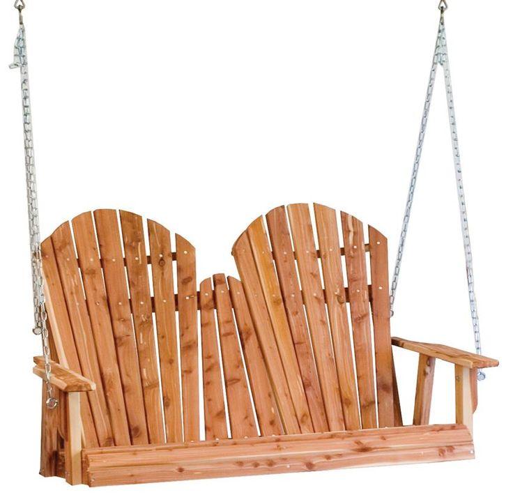 Amish Cedar Wood Adirondack Porch Swing Choose a 4' or 5' length for the Amish Cedar Wood Adirondack Porch Swing from DutchCrafters.