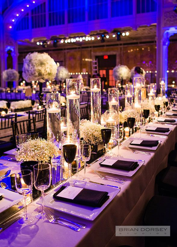 Wedding Decorations, Wedding Venues, NYC Public Library, Floral Arrangements, Babys Breath || Colin Cowie Weddings