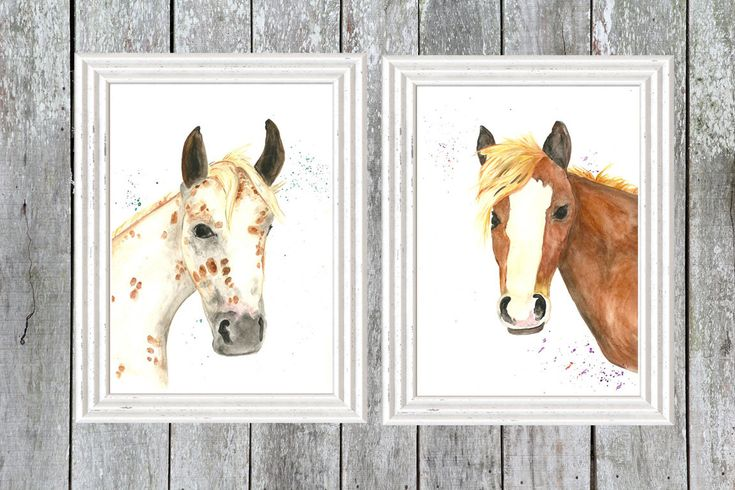 Horses on the Ranch - 2 Original watercolour Art Print Set, Farm, Barn Yard Animals, ponies, ranch, rustic nursery, cowboy nursery theme by LittleFellaPrints on Etsy https://www.etsy.com/listing/250718482/horses-on-the-ranch-2-original