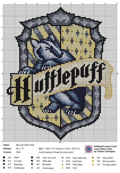 theworldinstitches:Hufflepuff House Crest cross stitch chart.  theworldinstitches:  Hufflepuff House Crest cross stitch chart.