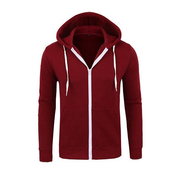Cozy Casual Cotton Thick Solid Color Zipper O-Neck Long Sleeve Hoodies For Men - NewChic