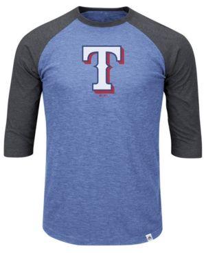 Majestic Men's Big & Tall Texas Rangers Grueling Raglan T-Shirt - Gray 5XL