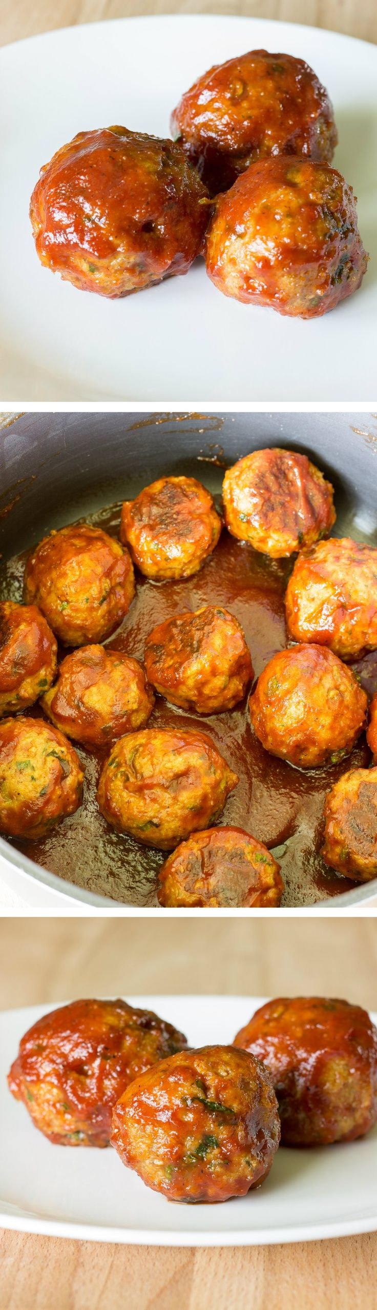 Honey Barbeque Chicken Meatballs ~ Flavorful chicken meatballs are baked, then simmered in a sweet & tangy homemade BBQ sauce.