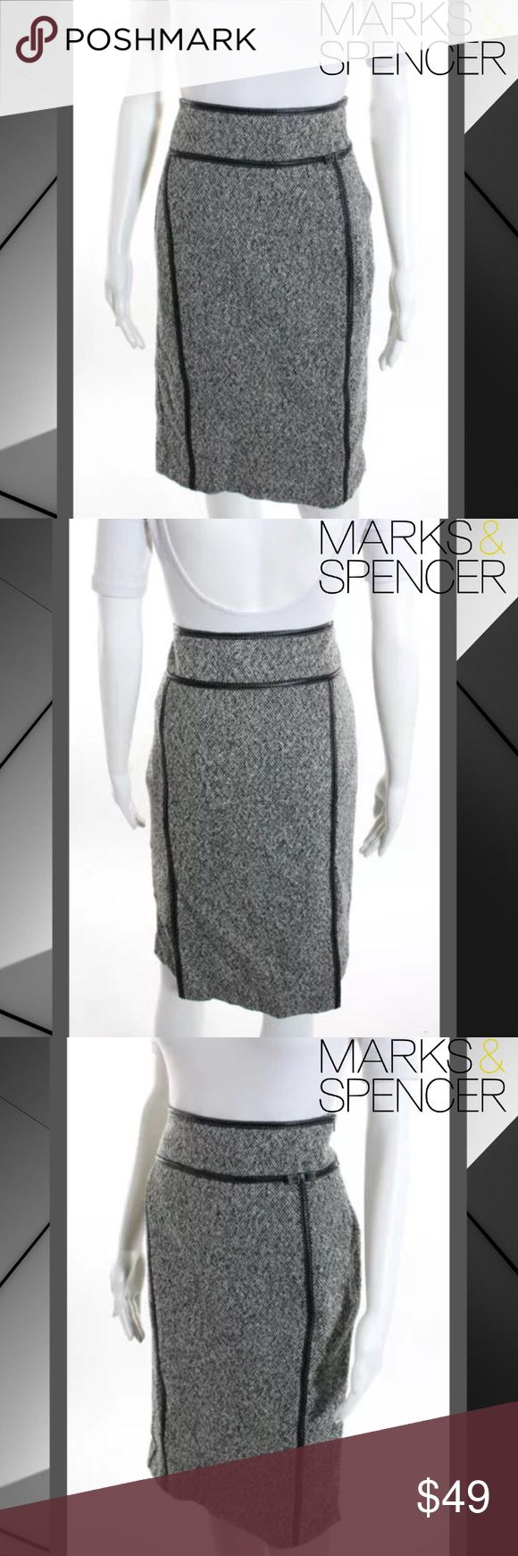 "MARKS & SPENCER Blk/Wht Tweed Print Woolen Skirt SIZE 10. 27"" Length. 30.75"" Waist. Black, White & Gray Colors. Black Piping Accents & Bow. Side Zipper & Eye Closure. 80% Wool/20% Polyamide. Pencil Skirt Style. Tweed Look. Stunning & Classy. Perfect Condition. Marks & Spencer Skirts Pencil"