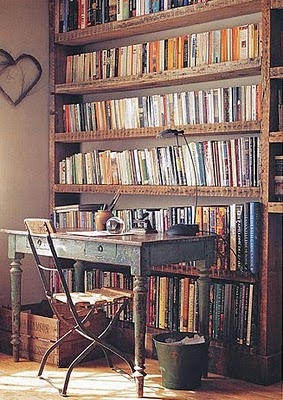 book shelves with old movies books