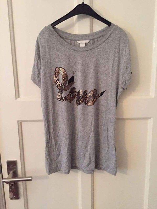Grijs shirt met gouden tekst print h