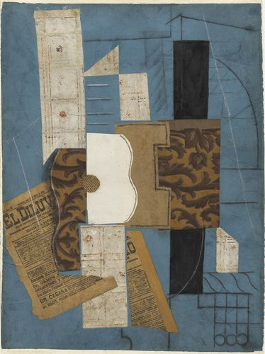 Pablo Picasso (Spanish, 1881-1973). Guitar, Céret, March 31, 1913, or later. Cut-and-pasted newspaper, wallpaper, paper, ink, chalk, charcoal, and pencil on colored paper. 26 1/8 x 19 1/2 in. (66.4 x 49.6 cm). The Museum of Modern Art, New York.