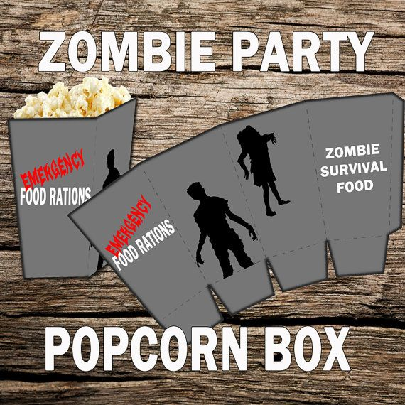Zombie Party Zombie Birthday Zombie Party Decorations. Prepare your guest with their survival food. Perfect for any party. These popcorn boxes are easy to make.