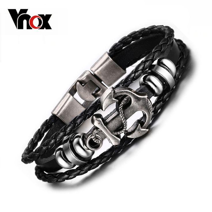 Vintage Anchor Bracelet Black Leather Charm Bracelets Men Jewelry Party Gift