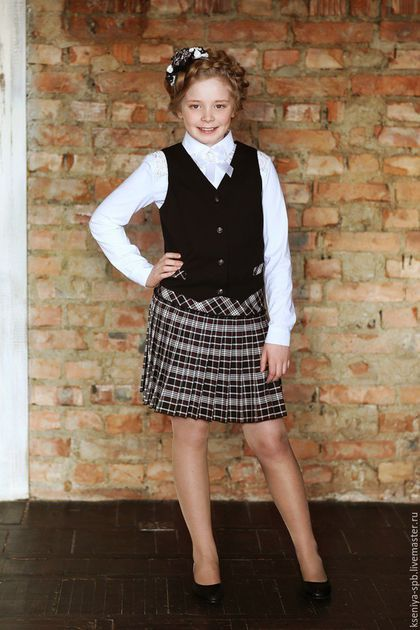 Школьная форма для девочки шотландка / разноцветный, в клеточку