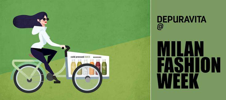 Depuravita: benessere e moda alla Milano Fashion Week - Depuravita percorre le strade milanesi a bordo della delivery bike. Il suo obiettivo è portare freschezza e ristoro durante la Fashion Week a tutti i fashion victim. - Read full story here: http://www.fashiontimes.it/2016/02/depuravita-benessere-moda-milano-fashion-week/