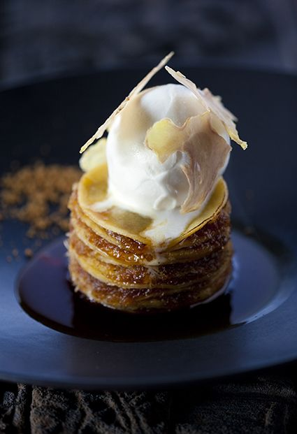 Coconut pancakes with ginger ice cream.