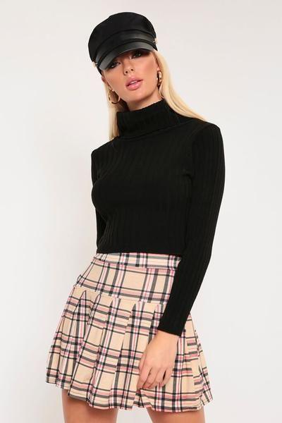 a0ffcad93 Beige check skater mini skirt in 2019 | 1970's Style | Blazer dress ...