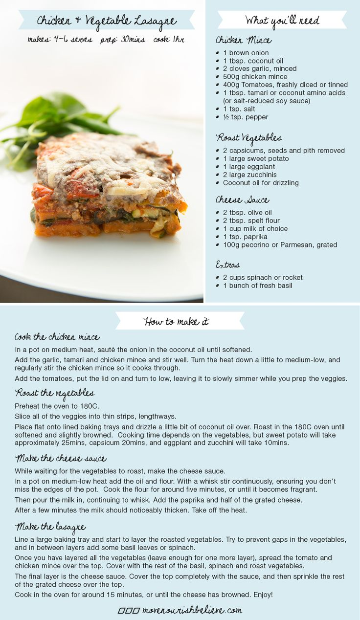 Fall Never Looked So Good! Here is a recipe for a delicious Chicken and Vegetable Lasagna #Nourish #Food #YUMMM