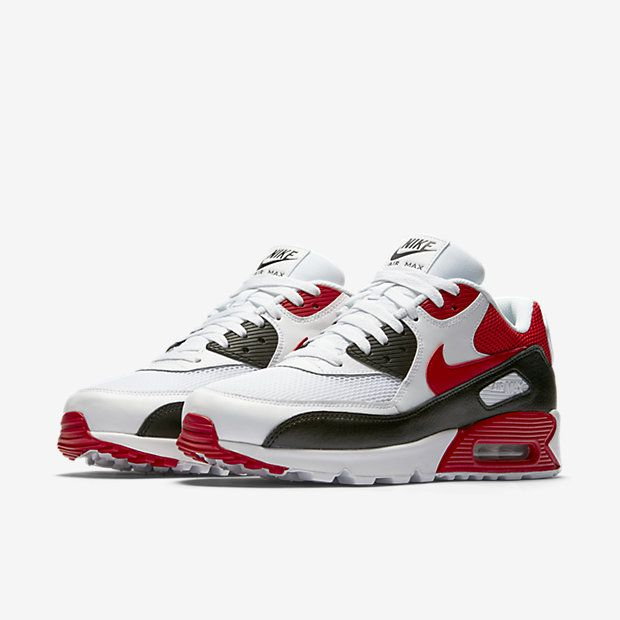 free shipping 5914d 47f35 Cheap Nike Air Max 90 Essential White Black Wolf Grey University Red Sale